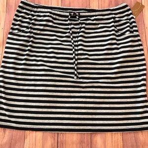 NWT Sonoma Gray/Black Striped Jersey Knit Skirt Lg